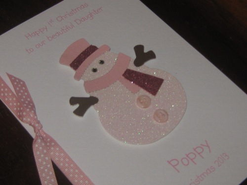 Personalised Handmade Christmas Card - Baby Girl's 1st Christmas Snowman