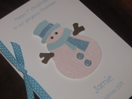 Personalised Handmade Christmas Card - Baby Boy's 1st Christmas Snowman