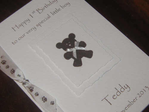Personalised Handmade 1st Birthday Card Felt Teddy