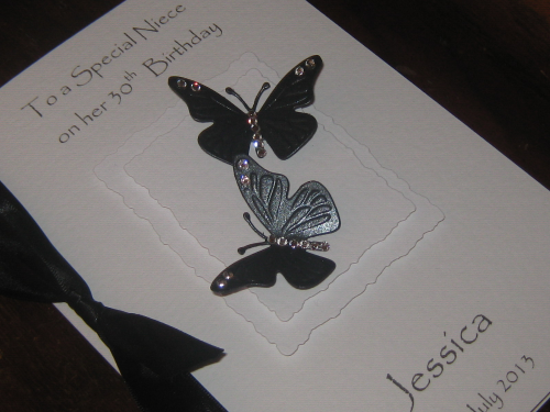 Personalised Handmade Birthday Card - Monochrome Butterflies - Luxury Boxed