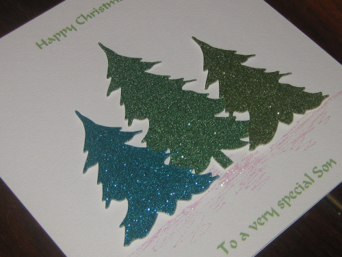 Luxury Handmade Christmas Card - Glitter Christmas Trees