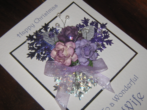 "Handmade Christmas Card - ""Lilac Snowflakes"" Luxury Boxed"