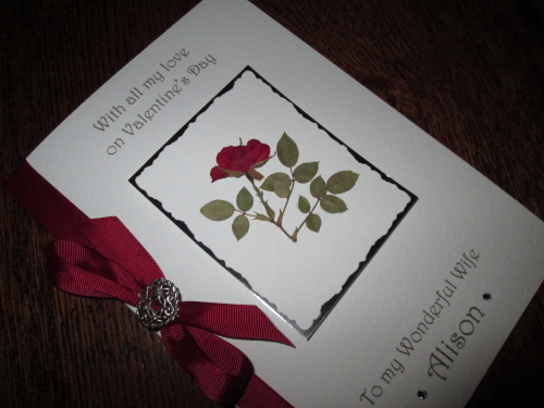 Personalised Handmade Valentine Card - Single Rose Luxury Boxed