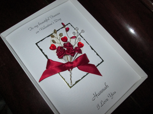 Luxury Personalised Handmade Valentine Card -  Rose & Jewel Bouquet Boxed