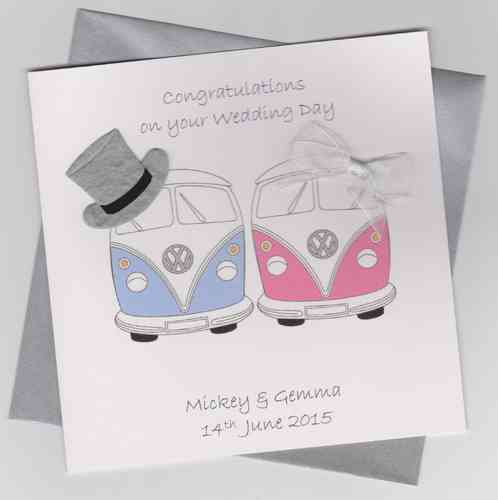 Handmade Wedding Card - Bride & Groom Camper Vans